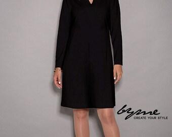 Black dress, womens dresses, loose dresses, long sleeves dress, women dresses unique, party dress, V neck dress, winter dress, midi dress
