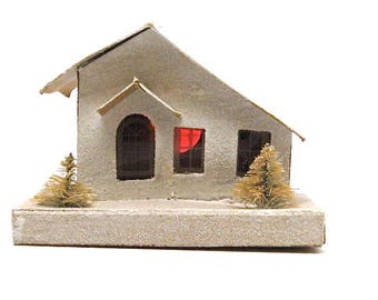Snow Village House, Vintage Mica Snow Village, House, Putz, Japan, Large, c1920