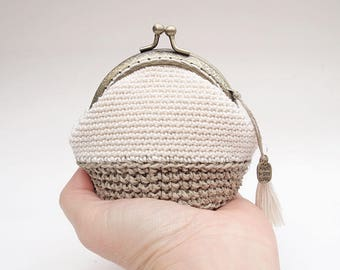 Crochet purse with mouthpiece, rustic crochet purse, women's gift, gift for her, ecofriendly purse, vegan purse, hemp and cotton wallet,