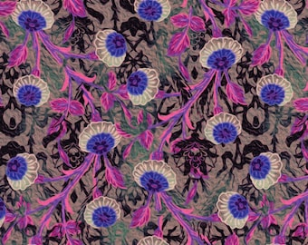 In The Beginning Fabrics Pastiche 7JYG 3 Asian Fauna In Pink, Purple, Green & Black On Grey By The Yard