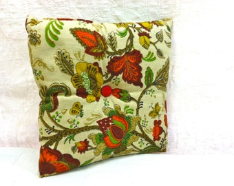 Vintage Pillow. Throw, Accent Pillow. Tufted. Mustard Yellow, Orange, Green, Tans.