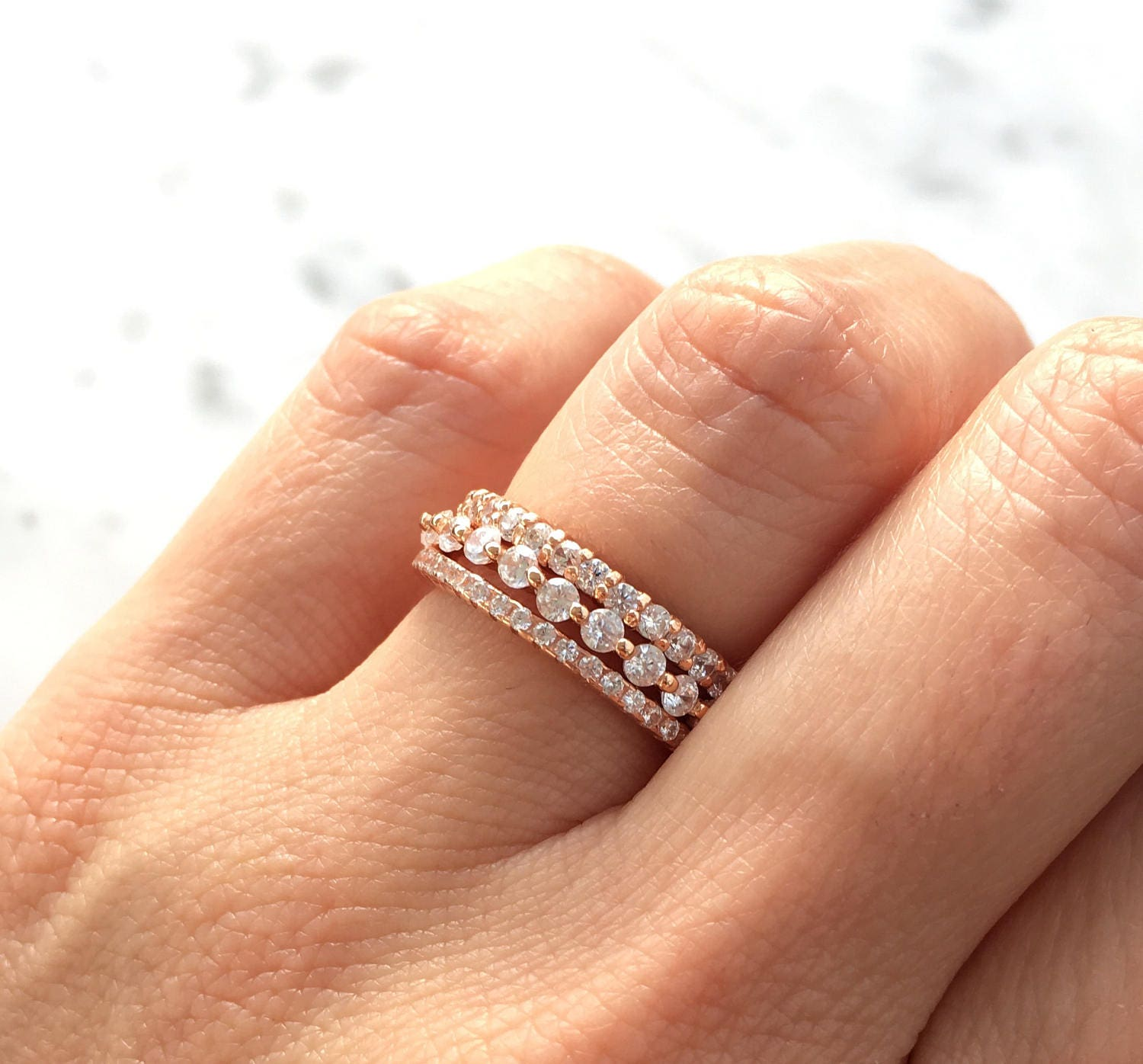 Rose Gold Stacking Ring Set Eternity Ring Set Sterling