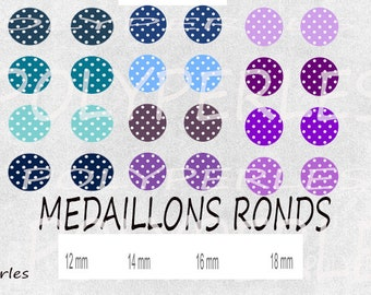 Images digitals cabochons round turquoise Navy Blue polka dots purple