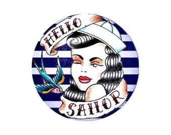 2 cabochons 20 mm sailor, Sailor, sailor, striped blue white woman