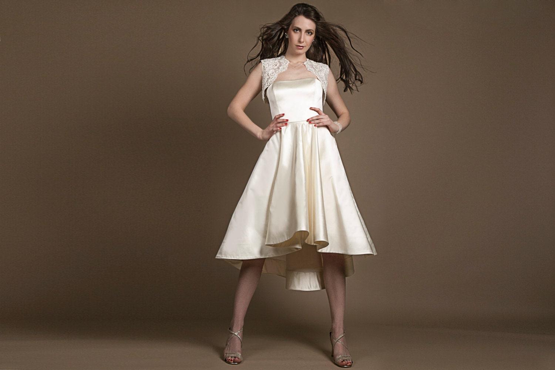 50er Jahre Stil Brautkleid hohe niedrige Hochzeitskleid