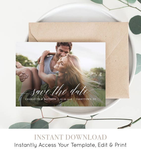 Photo Save the Date, Printable Wedding Save the Date Card, 100% Editable Template, Modern Calligraphy, Instant Download, Templett #034-203SD