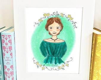 Jo March Print - Little Women -wall art - HJM
