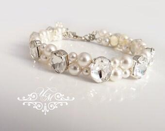 Wedding Jewelry Swarovski Pearl Bracelet Double strands Pearl Oval Rhinestone Silver Bracelet Bridal Jewelry Bridesmaids jewelry - NATALIE