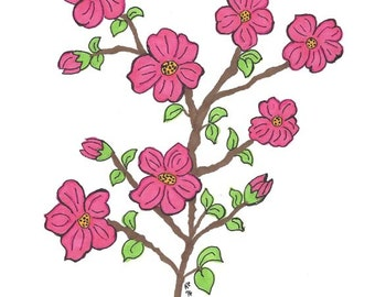 Original Art - Drawing of Cherry Blossoms in Deep Pink - Prismacolor Markers and Ink - Botanical Art