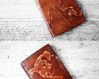 Personalized Passport Cover Star Map in Genuine Leather, Passport Holder, Personalized Travel Gift Passport Case, Wanderlust, Travel Wallet