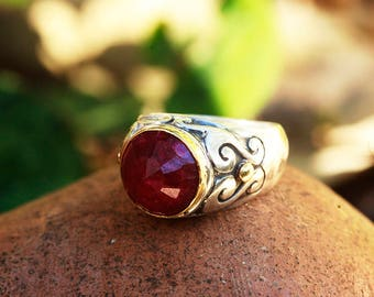 Ruby ring, Engagement ring, Solitaire Ring, Unique Gold Jewelry, Silver & Gold ring, Unique Engagement Ring, Statement Ruby Ring, Byzantine