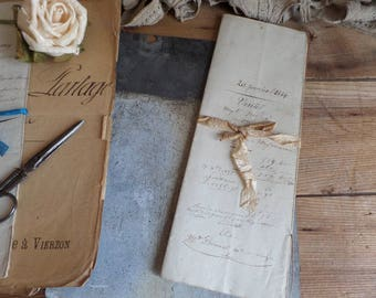 Antique French documents Ink writting Embossed stamps from 1854  4 sheets