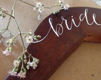 Bride and Bridesmaid Wooden Hangers