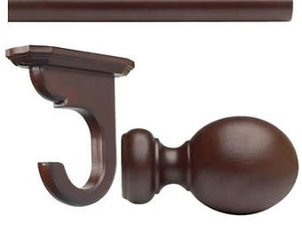 "Kirsch Basic Kit1 3/8"" Smooth Pole+ceiling Bracket +ball Finial,mahogany4 FT"