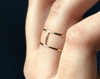 Double Bar Ring, Gold Cage Ring, Double Band Ring, Gold Ring, Double Stacking Ring, 14k Gold Filled Thin Ring, Gold Wrapped Floating Ring