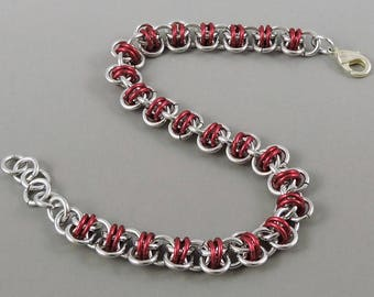 Red Chainmaille Bracelet, Barrel Weave Chainmail Bracelet, Chain Mail Jewelry, Red Bracelet
