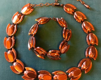 Vintage Renoir Mid Century Art Nouveau Tulip Copper Necklace and Bracelet