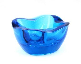 Vintage Turquoise Blue Glass Bowl designed by Rudolf Jurnikl for the Rosice Glassworks