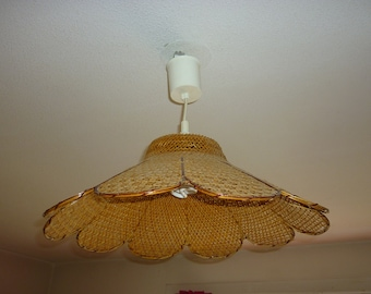 Rattan chandelier etsy chandelier suspension shade wicker and rattan shaped petals vintage 1970sfrance aloadofball Image collections