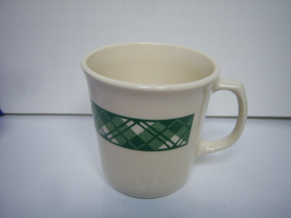 Corning Corelle Mugs VHTF Cream With Green Plaid Total