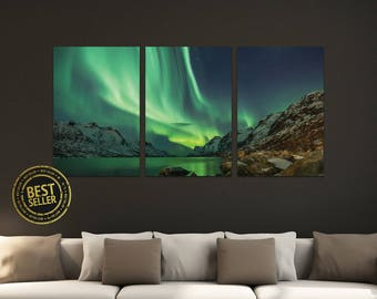 """Northern Lights, Aurora Borealis Triptych 3-Panel Printed Canvas 1.5"""" Thick   Home, Office, Wall Decor Interior Design Gallery Wrap"""