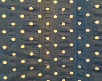 Vintage Fabric shower curtain , Blue with white Polk a dots