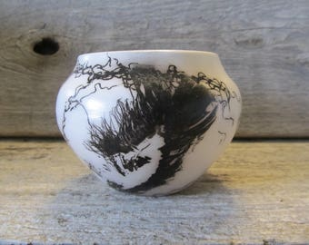 """Horse Hair Pottery with Feather,#1, 4""""  Small Acoma Shaped Pot- Ready to Ship"""