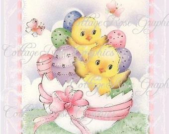 Vintage French Easter card Large digital download ECS buy 3 get one free romantic cottage single image