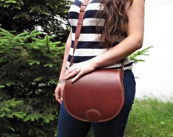 Leather crossbody bag, brown leather bag, minimalist bag, saddle bag, hunter bag