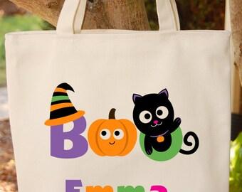 Trick or Treat Bag Halloween Tote Bag Kitty Cat Halloween Trick or Treat Bag
