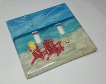 Nautical Beach Decorative Light Switch Covers- Beach Chairs- Sand - Coastal Decor switchplates- Nautical Lighting-Red chairs-yellow hat