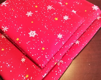 """Snowflakes and gold stars on red vintage cotton fabric. Quilting/sewing """"Snoflake"""" by Kid Stuff by the yard"""