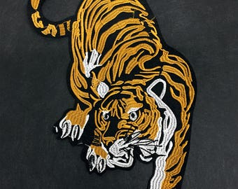 Iron on Patch-Tiger Embroidery Patch-Tiger Patch-Iron On Patch-Rose Applique-Tiger Embroidery-Iron on Applique-Animal Patch-Tiger Applique