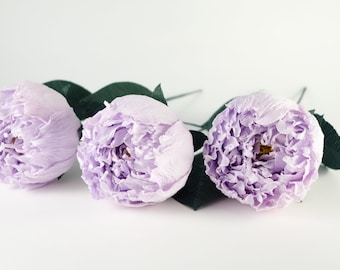 Crepe paper peony 3 pcs with stem, crepe paper flower, Paper wedding flower, wedding bouquet, Paper flower, paper anniversary, home decor