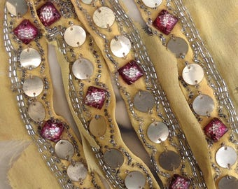 Antique French Sequin Salvage Flapper Dress Glass Beads Sew On Trim Celluloid or Gelatin