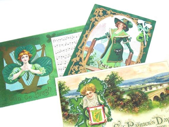 Antique St Patricks Day Postcards Pretty Irish Ladies