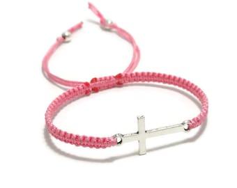 Silver Cross Bracelet, Sideways Cross Bracelet, Gift for Christians, Christian Bracelet, Catholic Bracelet, Christian Gift, Catholic Gift