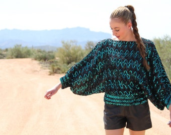 1970s Disco Sequin Top in Teal and Black by Miss H