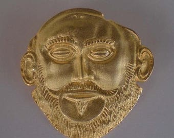 For Sale Mask of Agamemnon Silver Pendant - Gold Plated - Brooch - Pin - Ancient Greece