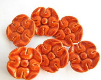 Orange metal buttons, Carrot orange shank buttons, 23 mm or 17 mm, 6 medium large buttons