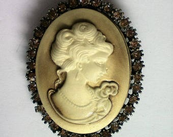 Celluloid Cameo Brooch or Pendant with Rhinestone Frame - 5491