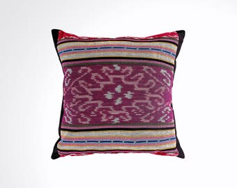 "Ikat Pillow Cover, Pink and Purple. Ethnic, Boho Cushion Case. Handwoven in Indonesia. 16"" x 16"""