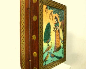 BOX, Crushed Gemstone Reverse Painted Box, Hinged Wood w Brass Embellishments, Classic Indian Woman w Instrument & Peacocks in a Garden