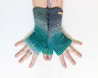 Seaglass Petal Mitts (Blue) ~ Knit Fingerless gloves, Fingerless glove mittens, Long knit gloves, Boho knit glove mittens