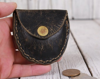 Coin purse, Leather coin purse, Black leather purse, Tooled leather purse, Black handmade purse, Genuine leather purse, Black coin purse