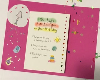 10 Things for Your birthday greeting card