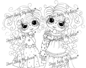 INSTANT DOWNLOAD Digital Digi Stamps Big Eye Big Head Dolls Digi  My - Besties  Jenni And Jacki  By Sherri Baldy