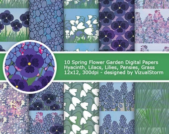 Pansy Hyacinth Digital Paper Spring Summer Flower Patterns Pansies Lily Lilac  Hyacinth Printable Floral Gardenening Scrapbooking Paper Pack