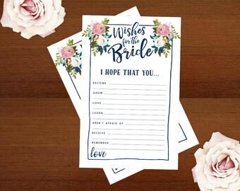 Bridal Shower Games   DIY Wishes for the Bride Cards   Printable Letter Size 2 per page   Instant Download   Blooms Floral Shower Games