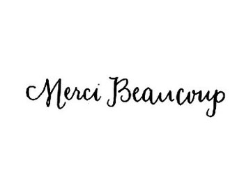CLEARANCE french text Merci Beaucoup calligraphy rubber stamp